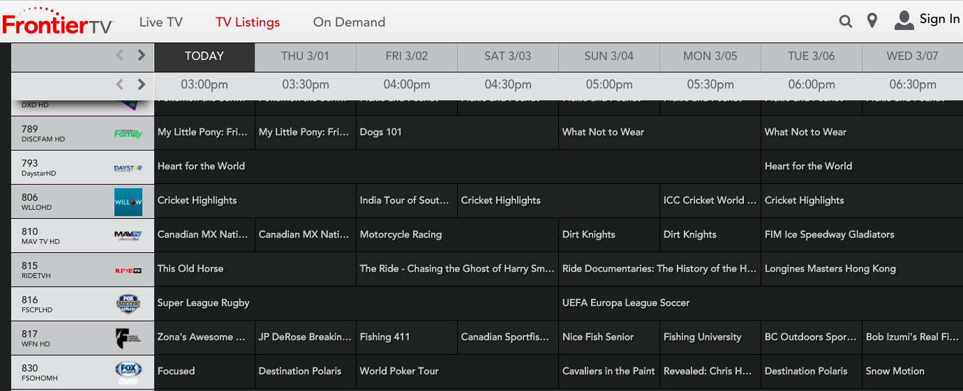 Frontier Channel Guide