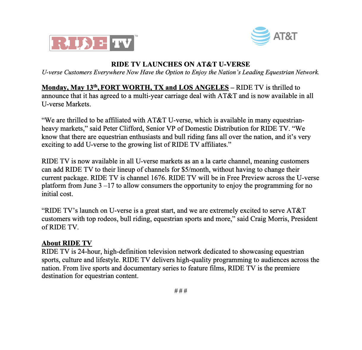 RIDE TV on AT&T U-Verse Announcement